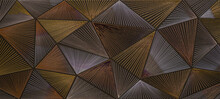 Abstract Triangular Mosaic Tile Wallpaper Texture With Geometric Fluted Triangles Of Metallic Gold Silver Copper Background Banner