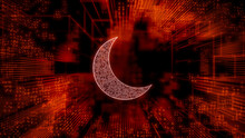 Night Mode Technology Concept With Moon Symbol Against A Futuristic, Orange Digital Grid Background. Network Tech Wallpaper. 3D Render