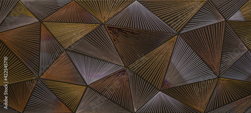 Fotografie, Obraz Abstract triangular mosaic tile wallpaper texture with geometric fluted triangle