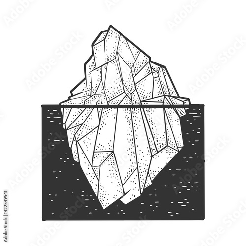 Obraz Iceberg sketch engraving vector illustration. T-shirt apparel print design. Scratch board imitation. Black and white hand drawn image. - fototapety do salonu