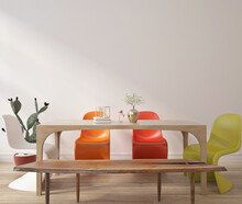 Wall Mockup In Modern Dinning Room With Colourful Chairs