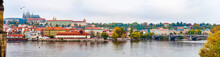 Panorama Prague Czech Republic View From Charles Bridge To River And City, Autumn Season