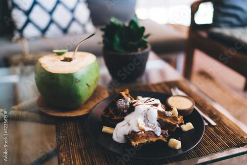 Fototapeta Fresh sweet dessert served on bamboo mat obraz