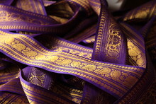 Purple Violet Indian Sari Border With Gold Paisley Pattern. Purple Background