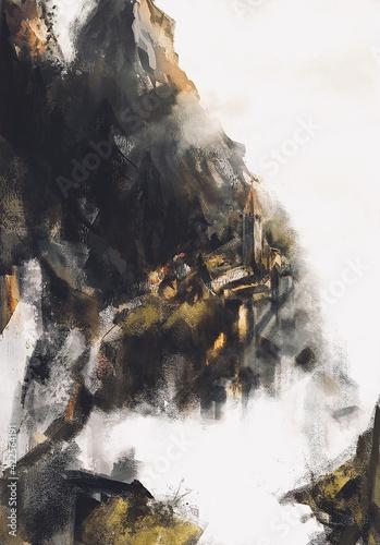 Fototapeta Miasto w  górach w mglisty poranek obraz