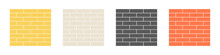 Set Of Brick Walls In Different Colors Isolated On A White Background. Construction Or Building Materials Concept. Vector Illustration In Flat Style