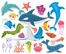 Ocean Animals. Cartoon Marine Wildlife Creatures, Orca, Stingray, Crab And Dolphin. Cute Sea Animals Characters Vector Illustration Set