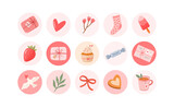 Valentines day vector round stickers set. Romantic highlights cover icons for social media. Gifts, love letter, cookie, cupcake, ice cream, dove, tea mug illustrations