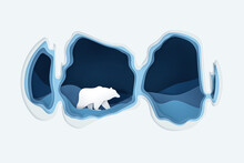 Vector And Digital Craft Style Of Polar Bear In The Cave.