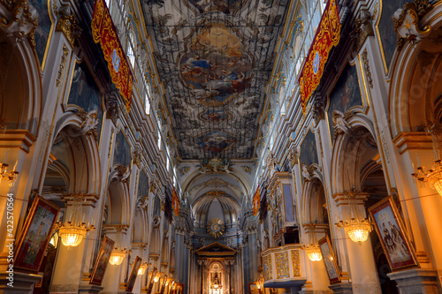 Canvas Interior of the basilica of San Sebastiano, Melilli, Syracuse, Sicily