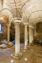 Interior Of An Underground Old Crypt With Pillars