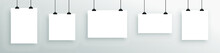 Realistic Mock-up Of White Hanging Poster. Empty White  Poster Template.