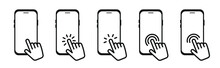 Icons Set Of Hand Touch On Screen Smartphone. Click On The Smartphone. Icon For Web And Apps.