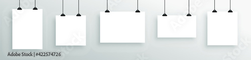 Fototapeta Realistic mock-up of white hanging poster. Empty white  poster template.  obraz
