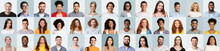 Collection Of Portraits With Cheerful Millennials Posing Over Blue Backgrounds
