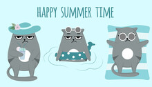 Set Of Cats. Grumpy Grey Cats Sea Place Or Swimming Pool. Happy Summer Time. Vacation, Rest, Relax. Postcard Or Print In Blue Color. Vector Illustration.