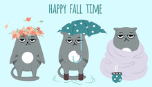Set Of Grumpy Grey Cats. Happy Fall Autumn. Rain Time, Umbrella, Cocoa, Hygge Style. Postcard Or Print In Blue Color. Vector Illustration.