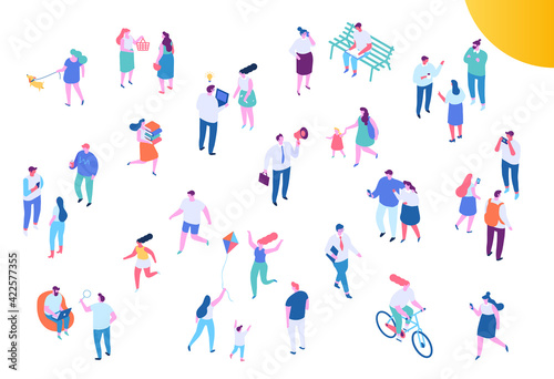 Obraz Different Isometric cartoon people vector set. Outdoor activities and Office life. Business people, Teamwork. People walking - fototapety do salonu