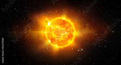 Fototapeta View of the Earth, sun, star and galaxy. Sunrise over planet Earth, view from space. Concept on the theme of ecology, environment, Earth Day. Elements of this image furnished by NASA. obraz