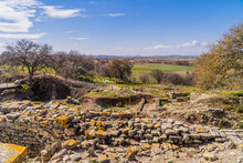 Ruins And Remains Of The Ancient Greek City Of Troy In The Archaeological Park Of Troy Near Canakkale, Western Turkey
