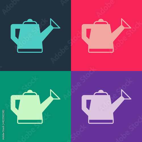 Fotografia Pop art Watering can icon isolated on color background