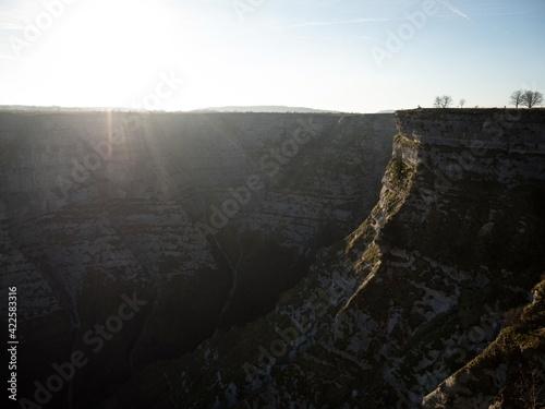 Sunrise panorama at Delika Canyon cliff edge near Salto del Nervion river waterfall in Alava Araba Basque Country Spain