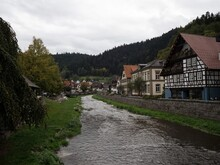 Old Historic Typical Traditional Half-timbered House Building At Kinzig River In Schiltach Rottweil Black Forest Germany