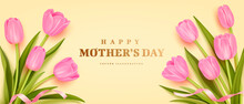 Mother's Day Poster Or Banner With Realistic Bouquet Of Tulips On Yellow Background