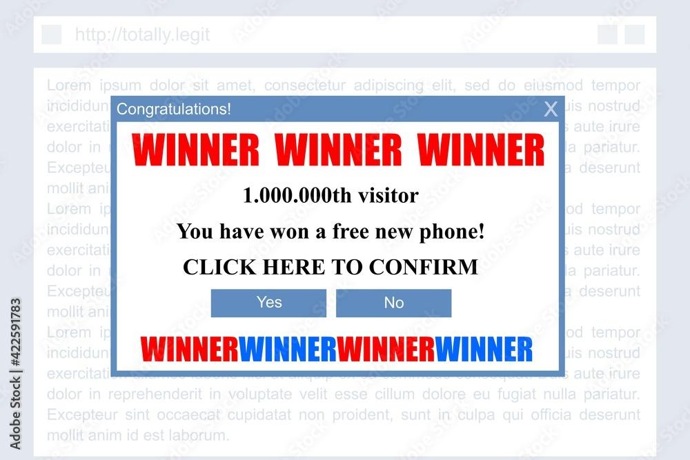 Fototapeta Winner pop up window - malicious ad