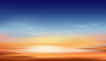 Sunset Dusk Sky In Evening With Orange,Yellow And Dark Blue Colour, Dramatic Twilight Landscape Of Skyline With Cloud,Vector Horizon Banner Of Sunrise For Spring Or Summer Background,Panorama Natural