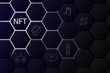 NFT Non-fungible Token Concept On Polygonal Abstract Background. Vector Dark Banner With Hexagon Shapes With Lights On Backdrop And White Non Fungible Token Sign. Modern Card Crypto Art Illustration.