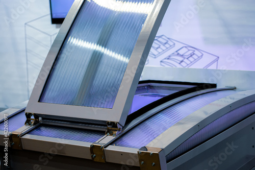 Foto Arched skylights with smoke exhaust flaps