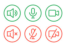Speaker, Mic And Video Camera Active And Disabled Related Icons. Basic Color Icons For Video Conference, Webinar And Video Chat.