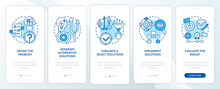 Problem Solving Steps Blue Onboarding Mobile App Page Screen With Concepts. Decision Making Process Walkthrough 5 Step Graphic Instructions. UI, UX, GUI Vector Template With Linear Color Illustrations