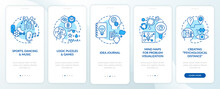 Boosting Problem Solving Skills Tips Blue Onboarding Mobile App Page Screen With Concepts. Mindset Walkthrough 5 Step Graphic Instructions. UI, UX, GUI Vector Template With Linear Color Illustrations