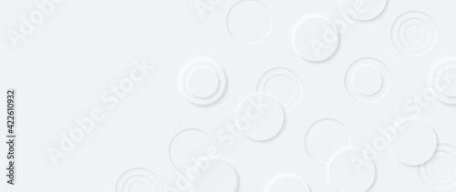 Fototapeta Neumorphism vector background. Minimal style white neumorphism website banner. Neumorphic UI UX interface design. Modern webdesign. Geometric white ultrawide 3d wallpaper. obraz