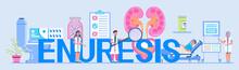 Enuresis Concept Vector. Cystitis Illustration For Medical Website. Urologist, Nephritis Symbol Tiny Doctor Treats Kidneys. Pyelonephritis And Kidney Stones Diseases.