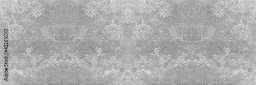 Fototapeta Seamless abstract mosaic grey gray white concrete stone cement wall texture, wit