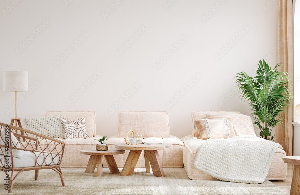 Fototapeta Cozy light home interior mock-up in pastel colors, 3d render