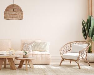 Cozy light home interior mock-up in pastel colors, 3d render