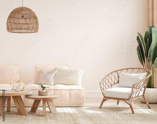 Canvastavla Cozy light home interior mock-up in pastel colors, 3d render