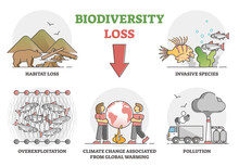 Biodiversity Loss Issues And Causes As Climate Ecosystem Problem Outline Set