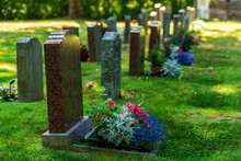 A Double Row Of Tombstones Decorated With Colorful Flowers