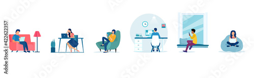 Obraz Vector of people working at home, man and woman freelancing using laptops and computers - fototapety do salonu