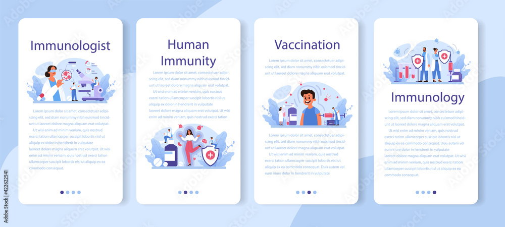 Fototapeta Professional immunologist mobile application banner set. Idea of healthcare