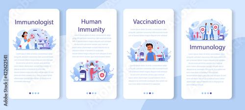 Obraz Professional immunologist mobile application banner set. Idea of healthcare - fototapety do salonu