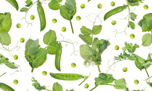 Pea Stems With Pods And Leaves Seamless Background