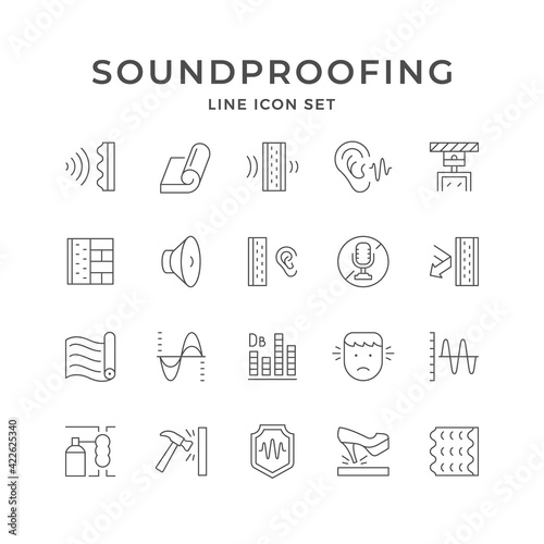 Fototapeta Set line icons of soundproofing