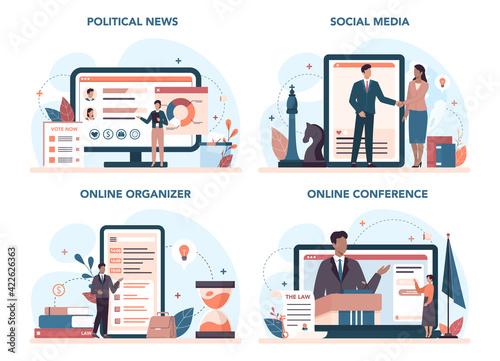 Papel de parede Politician online service or platform set