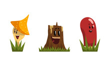Funny Mushroom And Tree Stump Characters With Smiling Faces Growing On Grass Vector Set